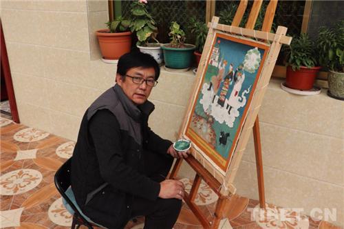 """耗时一个多月 西藏唐卡画师绘制战""""疫""""主题唐卡3.jpg"""